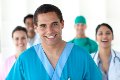five medical staff smiling